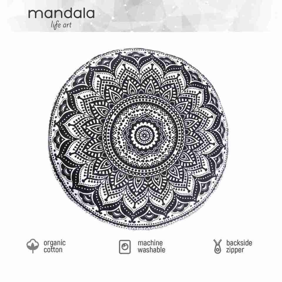 black and white mandala floor pillow 1