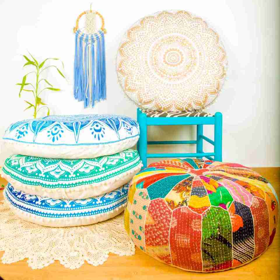 bohemian floor pillow mandala round cushion pouf 2