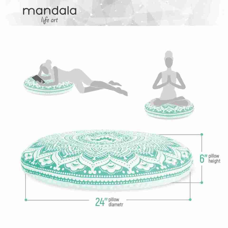 turquoise mandala boho chic floor cushion 3