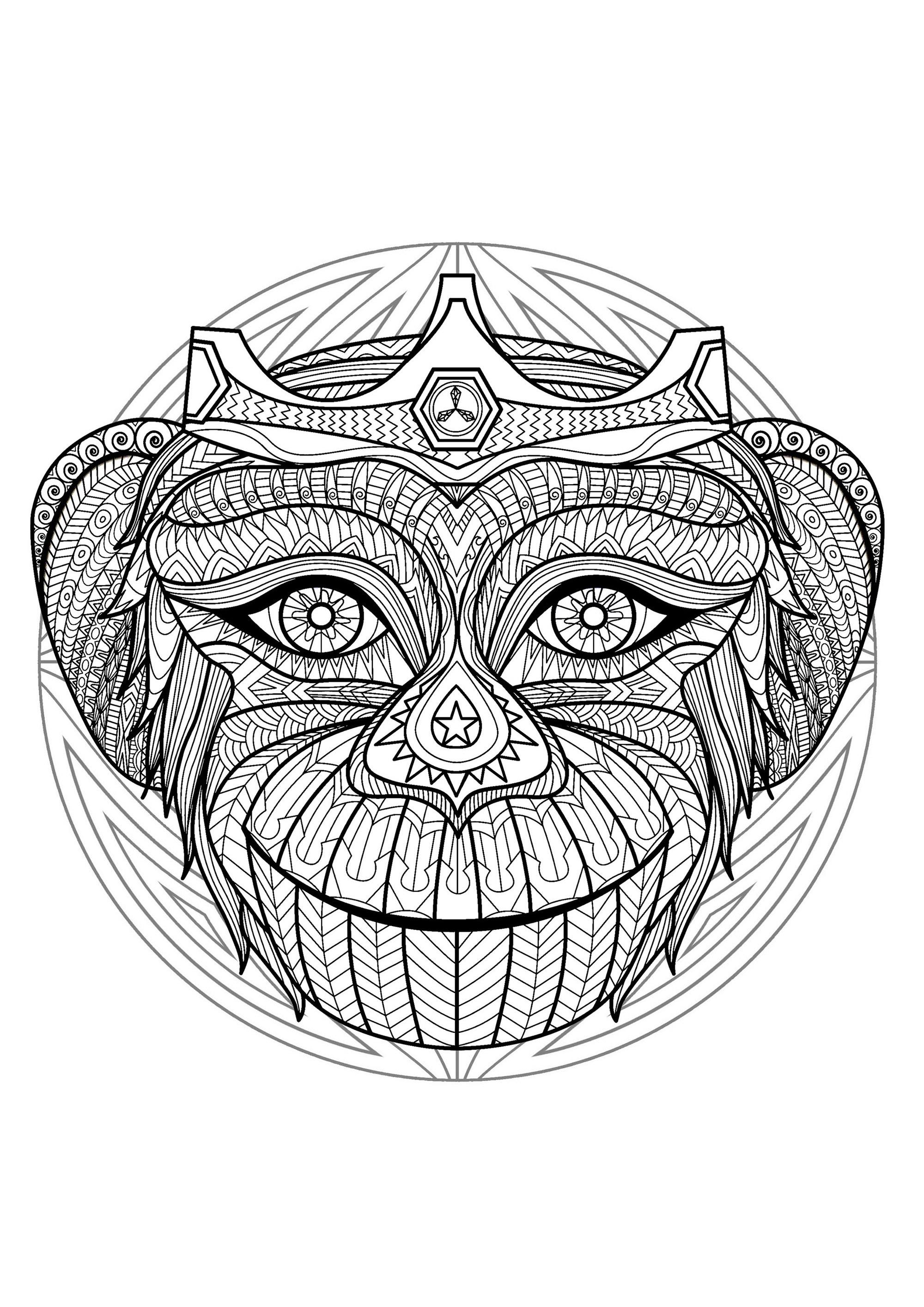 Mandala Tete Singe 2 Mandalas Difficiles Pour Adultes