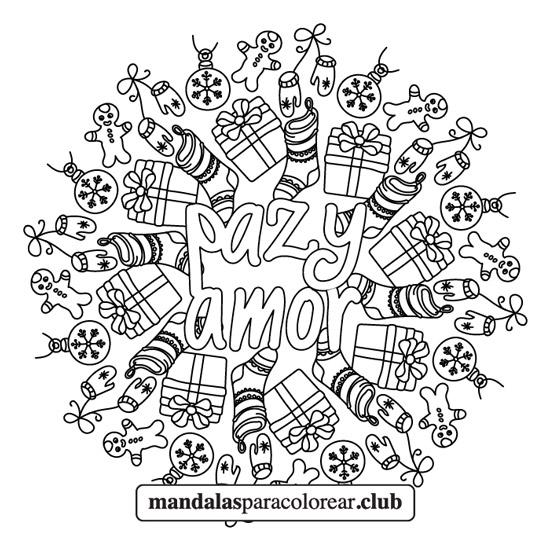 Mandala de Navidad Paz y Amor
