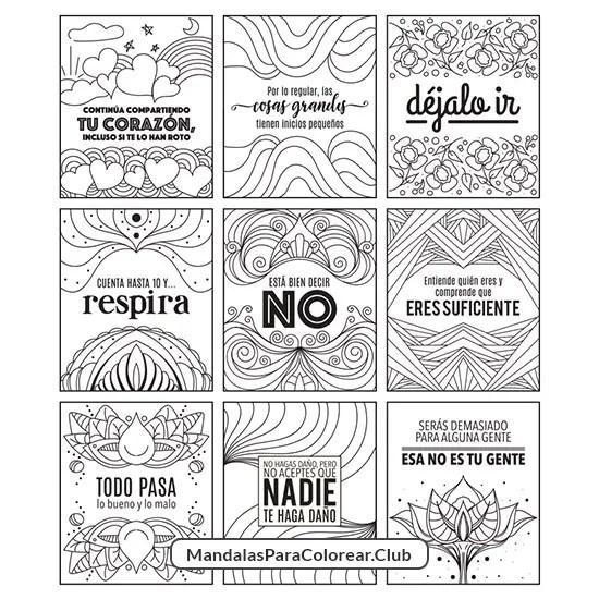 Tarjetas para Meditar Colorear e Imprimir