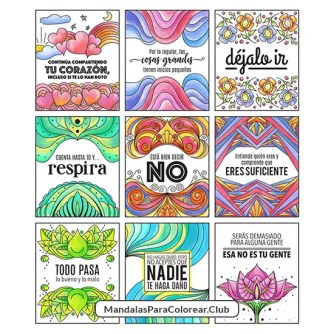 Tarjetas para meditar coloreadas