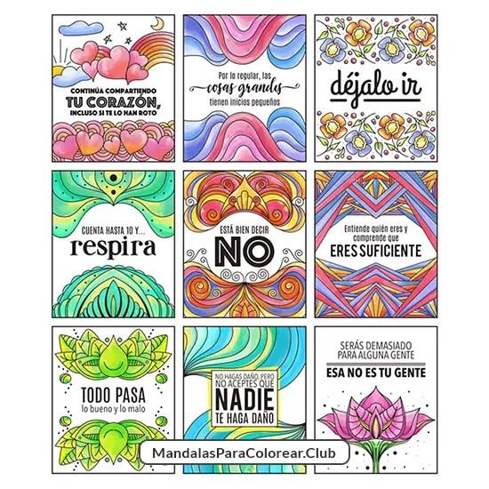 Tarjetas para meditar coloreadas