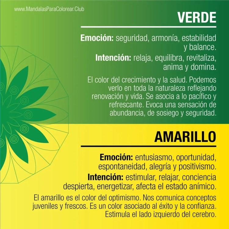 Significado de los Colores para Colorear Mandalas - Verde y Amarillo