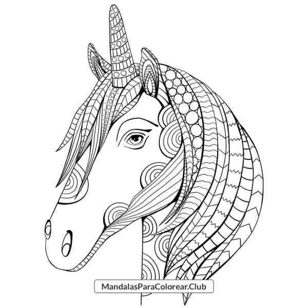 Mandala Unicornio Zentangle