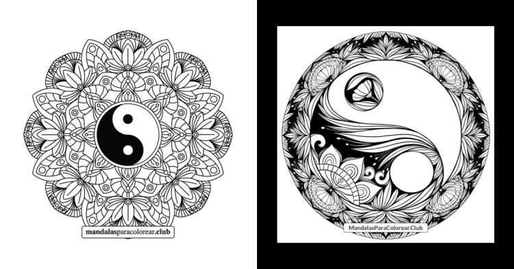 Mandalas Yin Yang para Colorear