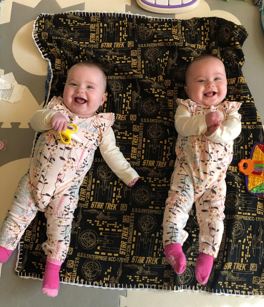 Identical Twins Monthly Update - Seven Months - www.mandamorgan.com