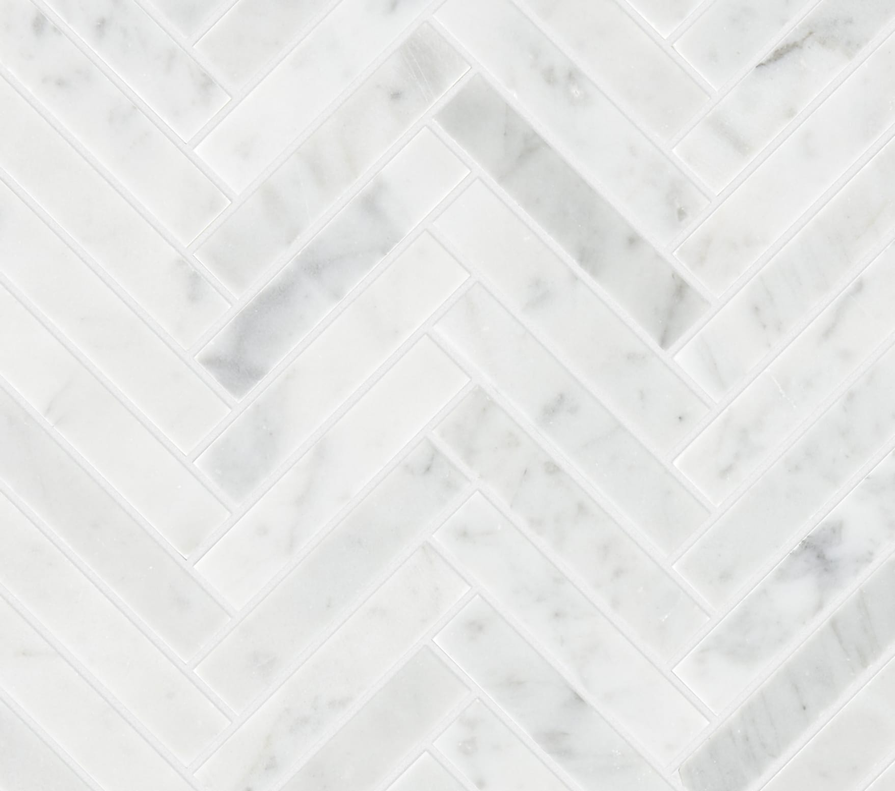 Carrara Honed Marble Herringbone Mosaic Tile