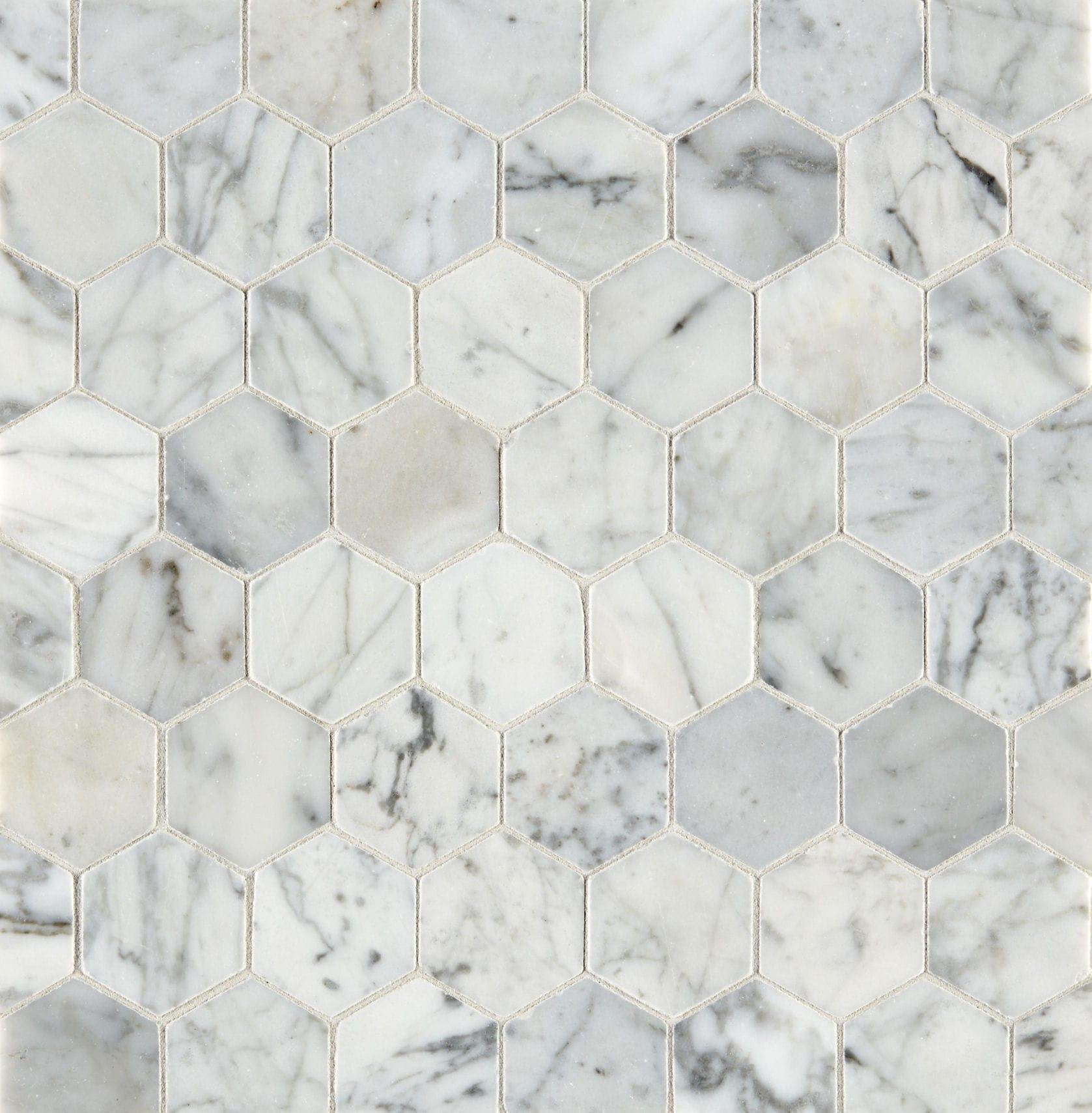 carrara honed hexagon marble mosaic tile mandarin stone