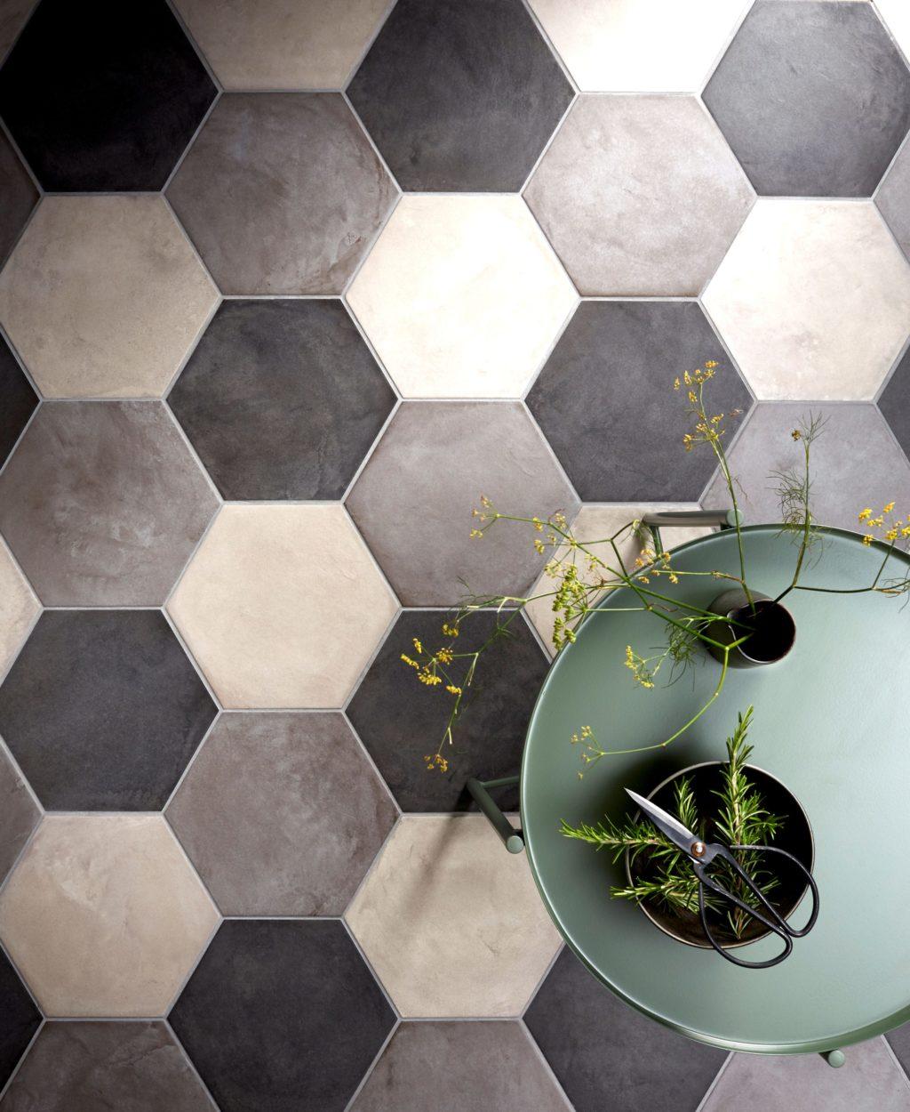 casablanca dark grey base hexagon porcelain