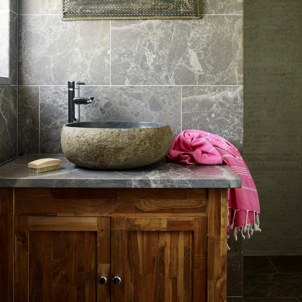 Teak Wooden Washstand With Door Mandarin Stone