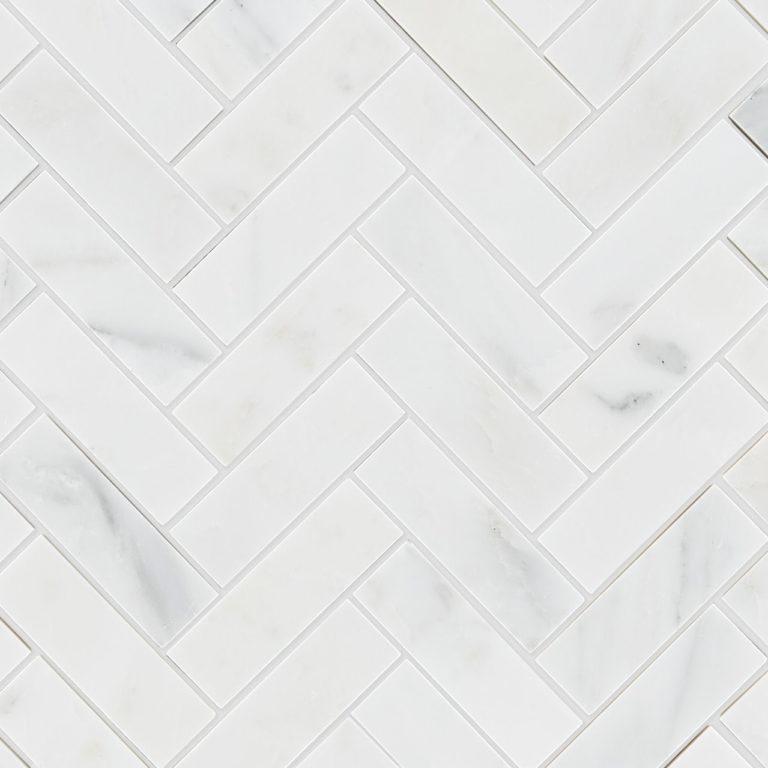 Calacatta Honed Marble Herringbone Mosaic Tile