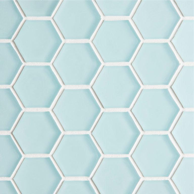 glacier blue glass hexagon mosaic