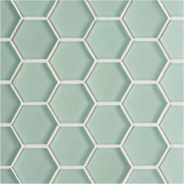 glacier green glass hexagon mosaic