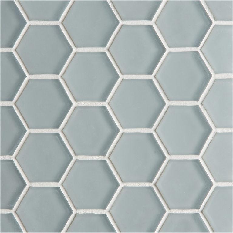 glacier grey glass hexagon mosaic