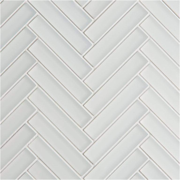 glacier white glass herringbone mosaic