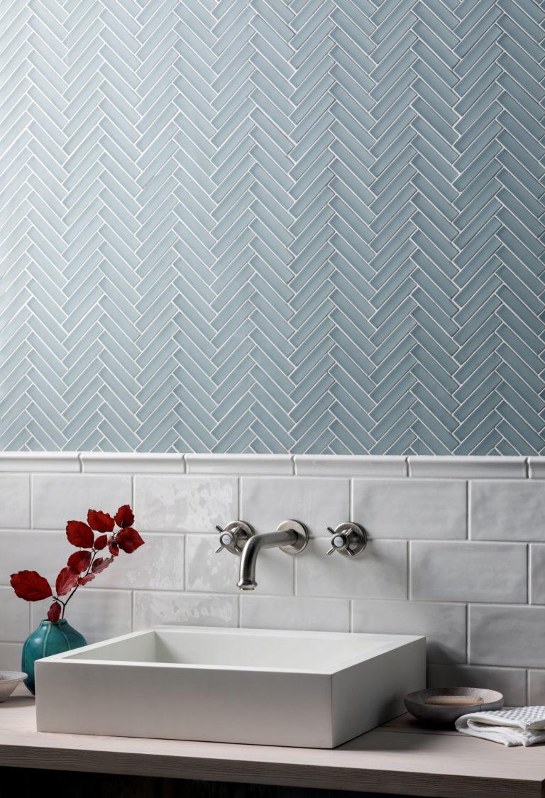 glacier grey glass herringbone mosaic