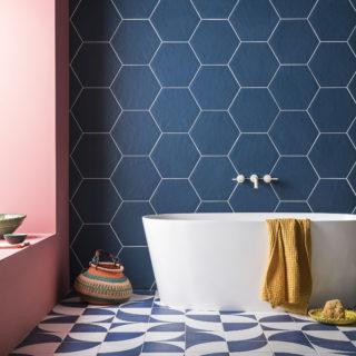 oska navy matt porcelain hexagon tiles