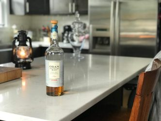 Oban whisky bottle in kitchen