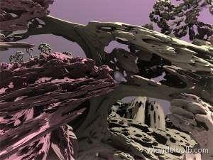 """""""Rock Rotation II"""" 3D Fractal Art, By Kurt Dahlke, 2012"""