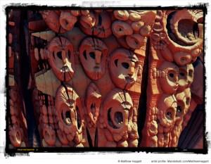 """The Wall of Ancient Masks (circa 1971)"" by Matthew Haggett"