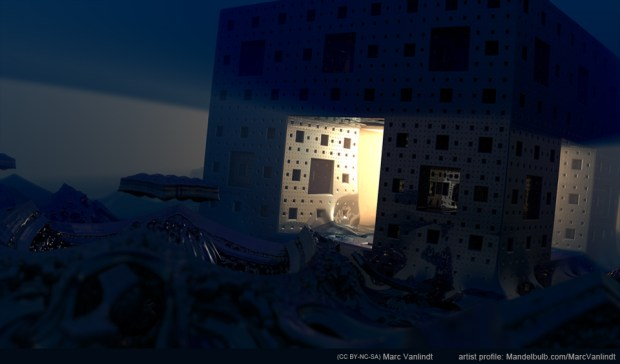 """Menger Machination"" by Marc Vanlindt. 3D fractal art created with Mandelbulb 3D."