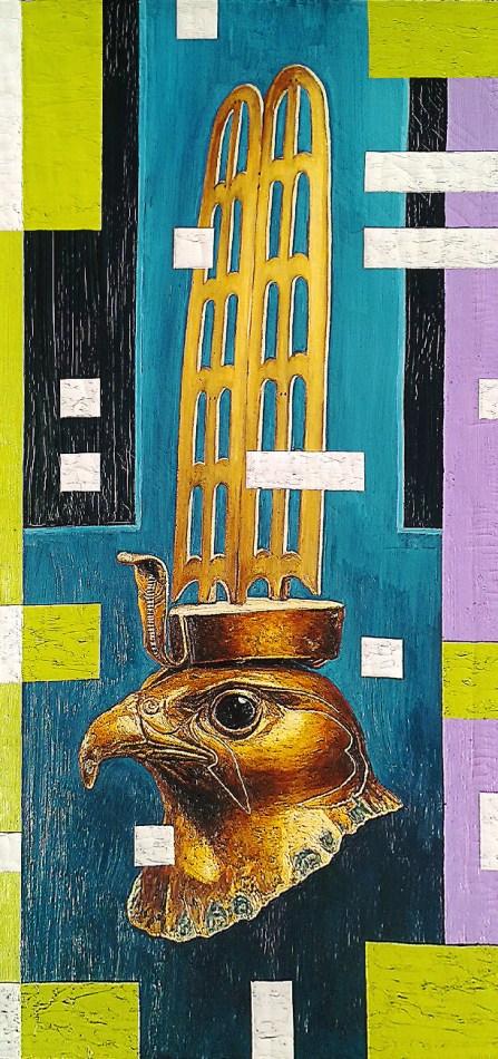 Andrea Zucchi, Combinatoria Horus, Olio su tela, 140x70, 2002