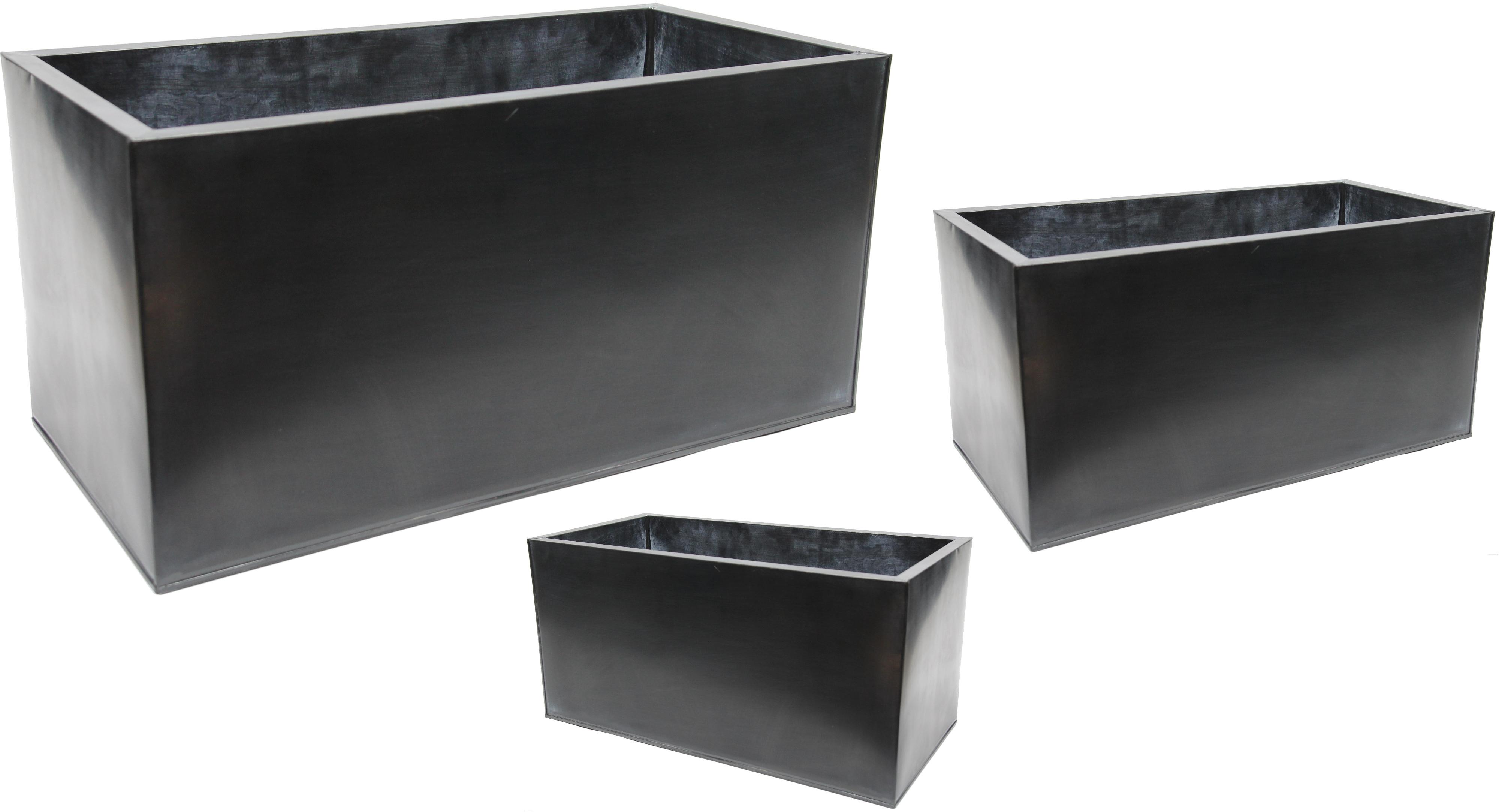 Pflanztrog Metall Zink Schwarz 3er Set