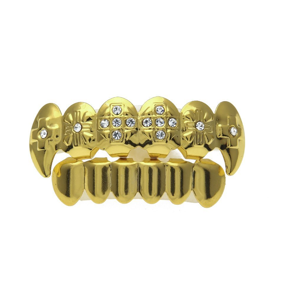 Iced Out Cross Gold Plated Top And Bottom Og Tooth Grillz