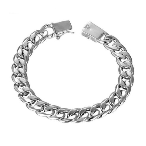 New-Silver-Link-Chain-Tone-Round-Men-s-celet-Wrist-band-10MM-Hot-Curb-Cuban-Link