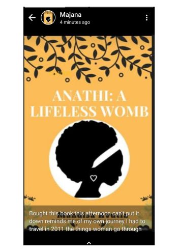 Anathi a Lifeless womb book review, mandisa avutia, black south african woman author