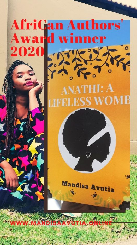 Black woman in a colourful dress and long braids with her hand under her chin facing the camera. The winner of the afriCan Authors' Award 2020 fiction novel category