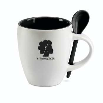 Truthseeker coffee mug, ceramic with matching ceramic scoop spoon