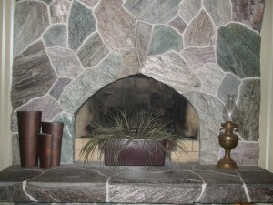 Our Schist Flagstone Fireplace