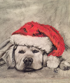 "Labrador with Santa hat, ""Santa"""