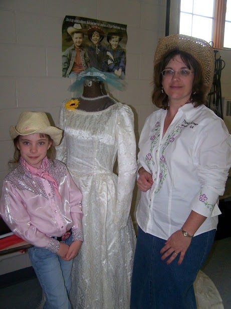 antique wedding gown celebarting 50th anniversary