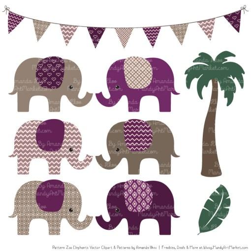 Plum Patterned Elephant Clipart & Patterns