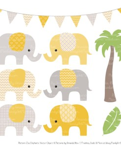 Sunshine Patterned Elephant Clipart & Patterns