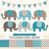 Vintage Blue Patterned Elephant Clipart & Patterns