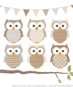 Pattern Zoo Champagne Patterned Owl Clipart & Patterns