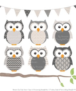 Pattern Zoo Grey Patterned Owl Clipart & Patterns