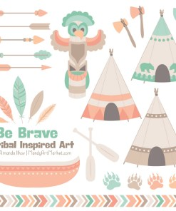 Mint & Peach Tribal Clipart