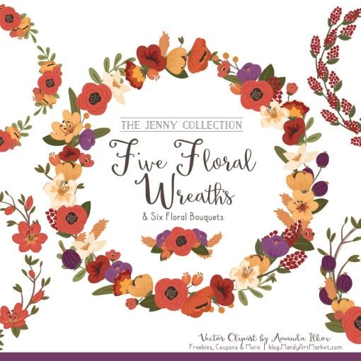 Round Floral Wreaths Clipart in Autumn