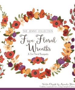 Round Floral Wreaths Clipart in Autumn