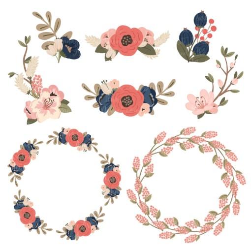Round Floral Wreaths Clipart in Navy & Blush