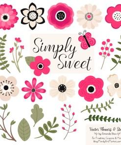 Hot Pink Cute Flower Clipart