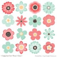 Mint & Coral Flower Clipart & Vectors