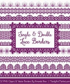 Plum Digital Lace Borders Clipart
