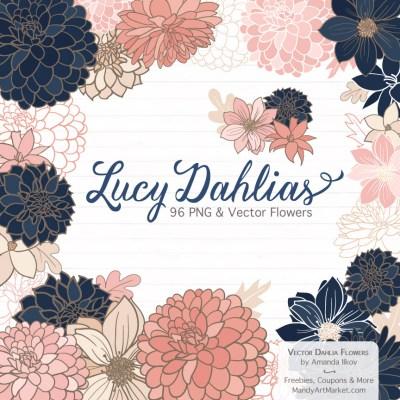 Navy & Blush Dahlia Clipart